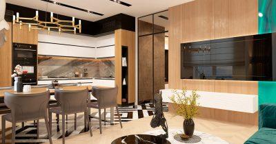 ЖК Престиж хол. Кухня — гостиная